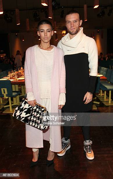 Alina Sueggeler singer Frida Gold and Andreas Weizel attend the LaLa Berlin Dinner with Cinderella during the MercedesBenz Fashion Week Berlin...