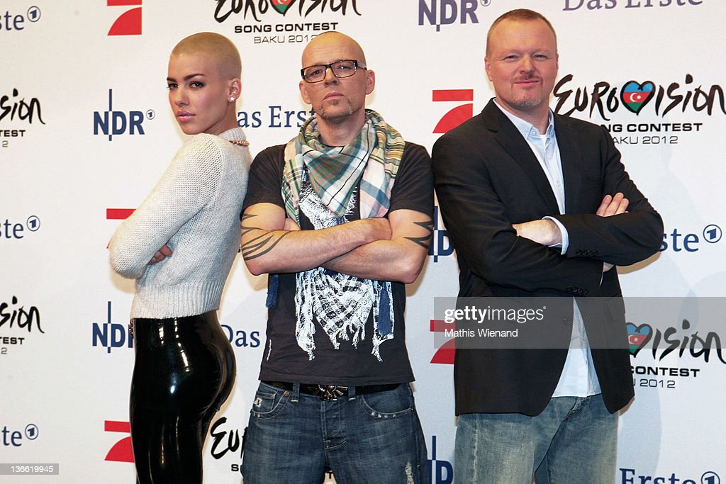 Alina Sueggeler, Thomas D and Stefan Raab pose during the press conference of 'Our Star For Baku' at Brainpool Studios on January 9, 2012 in Cologne, Germany.
