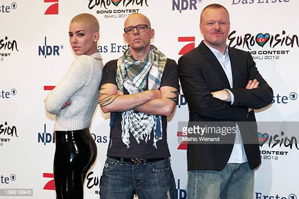 "Alina Sueggeler, Thomas D and Stefan Raab pose during the press conference of ""Our Star For Baku"" at Brainpool Studios on January 9, 2012 in Cologne,..."