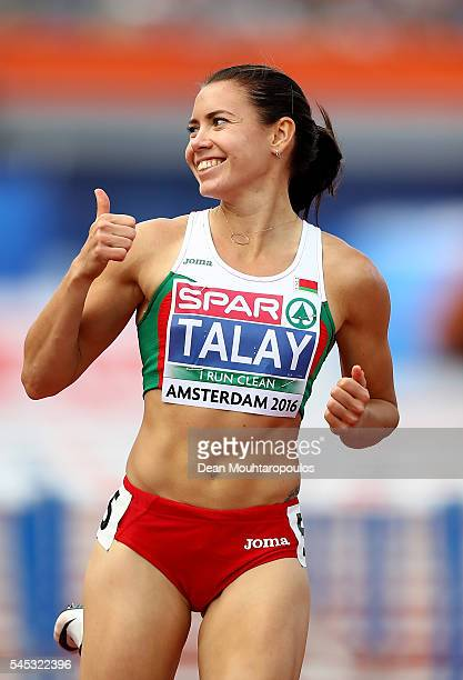 Alina Talay of Belarus celebrates after winning her 100m semi final on day two of The 23rd European Athletics Championships at Olympic Stadium on...