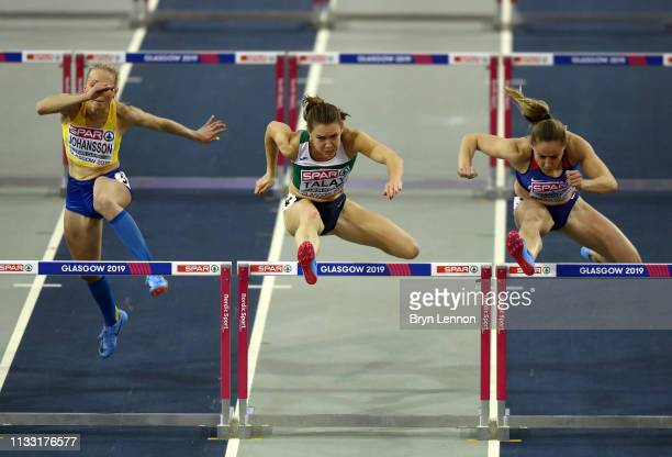 Alina Talay of Belarus competes during the Womens Hurdles Heats during the 2019 European Athletics Indoor Championships Day Two at the Emirates Arena...