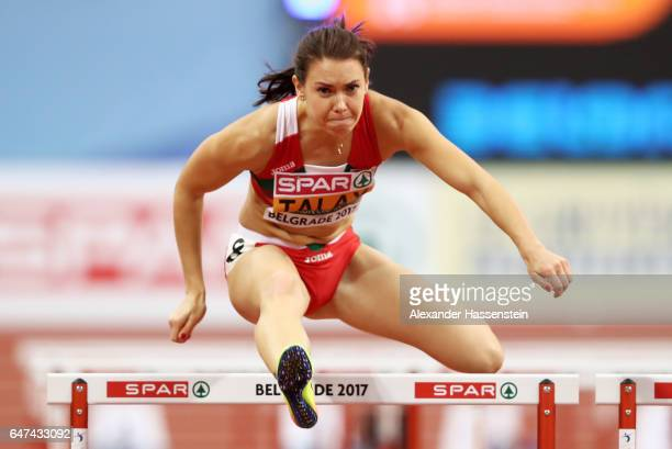 Alina Talay of Belarus competes in the Women's 60 metres hurdles heats on day one of the 2017 European Athletics Indoor Championships at the Kombank...