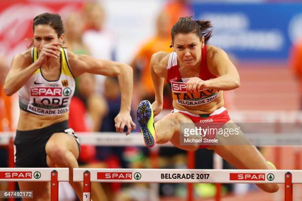 Alina Talay of Belarus competes in the Women's 60 metres hurdles semi finals on day one of the 2017 European Athletics Indoor Championships at the...