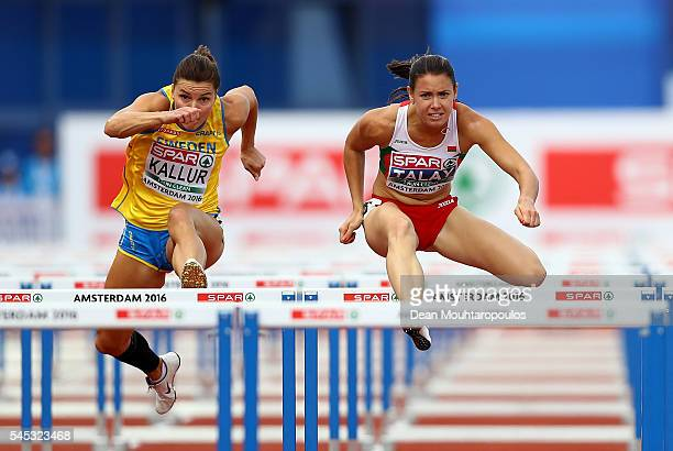 Alina Talay of Belarus in action during her 100m hurdles semi final on day two of The 23rd European Athletics Championships at Olympic Stadium on...