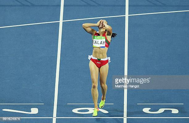 Alina Talay of Belarus reacts during the Women's 100m Hurdles Semifinals on Day 12 of the Rio 2016 Olympic Games at the Olympic Stadium on August 17...