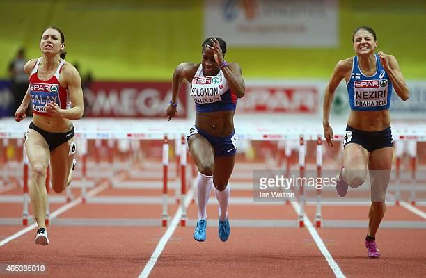 Alina Talay of Belarus Serita Solomon of Great Britain Northen Ireland and Nooralotta Neziri of Finland compete in the Women's 60 metres final during...