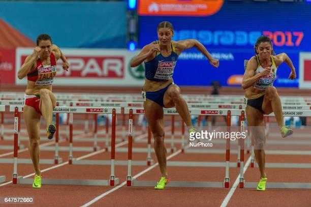 Alina TalayBelarus Hanna PlotitsynaUkraine and Pamela DutkiewiczGermany during 60m Hurdles for women at European athletics indoor championships in...