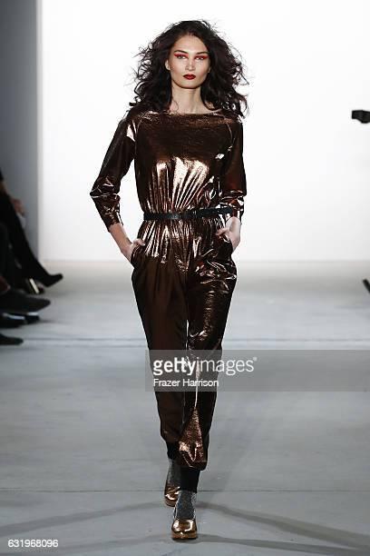 Alina Tatsiy walks the runway at the Rebekka Ruetz show during the MercedesBenz Fashion Week Berlin A/W 2017 at Kaufhaus Jandorf on January 18 2017...