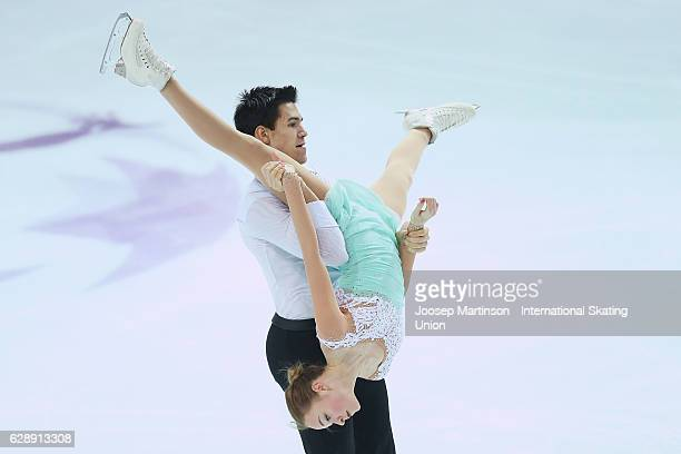 Alina Ustimkina and Nikita Volodin of Russia compete during Junior Pairs Free Skating on day three of the ISU Junior and Senior Grand Prix of Figure...