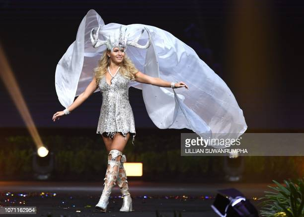Alina Voronkova Miss Finland 2018 walks on stage during the 2018 Miss Universe national costume presentation in Chonburi province on December 10 2018