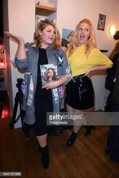 Alina Wichmann and Stella Sieger attend the Riccardo Simonetti 'Mein Recht zu funkeln' book release party at Gorki Apartments on September 27 2018 in...