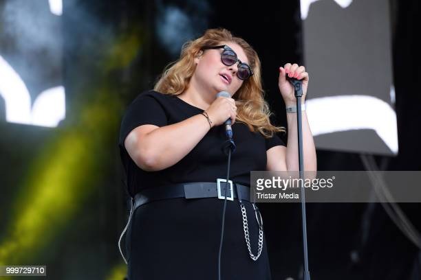 Alina Wichmann performs at the Radio B2 SchlagerHammer OpenAirFestival at Hoppegarten on July 15 2018 in Berlin Germany