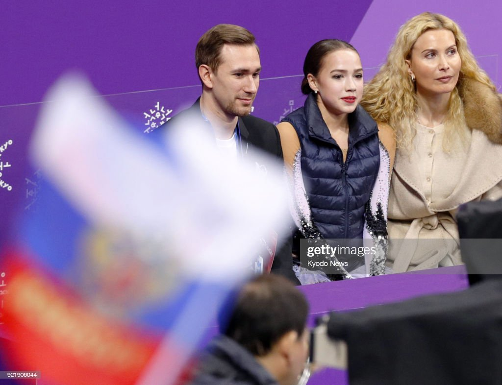 Alina Zagitova (C), an Olympic Athlete from Russia, is pictured after performing in the women's figure skating short program at the Pyeongchang Winter Olympics in Gangneung, South Korea, on Feb. 21, 2018. ==Kyodo