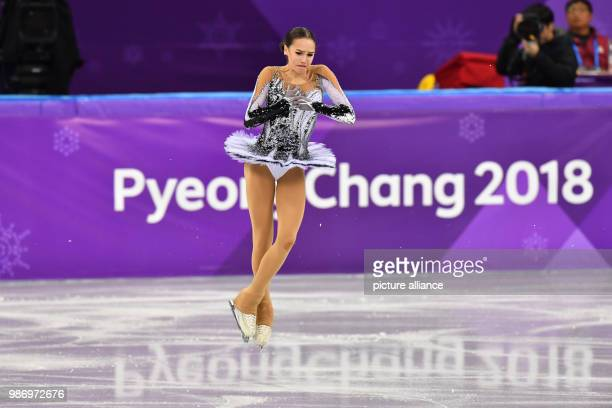 Alina Zagitova from the team 'Olympic Athletes from Russia' in action during the women's singles short program event of the 2018 Winter Olympics in...