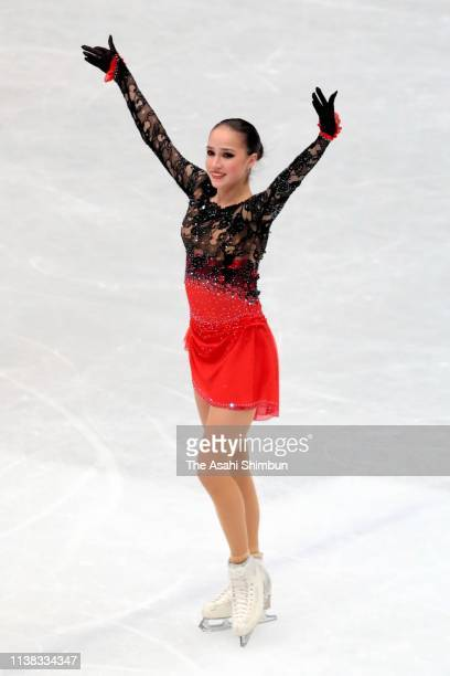 Alina Zagitova of Russia applauds fans after competing in the Ladies Free Skating on day three of the 2019 ISU World Figure Skating Championships at...