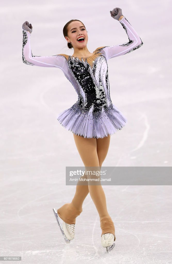 Alina Zagitova of Russia competes during the Ladies Single Skating Short Program on day twelve of the PyeongChang 2018 Winter Olympic Games at Gangneung Ice Arena on February 21, 2018 in Gangneung, South Korea.
