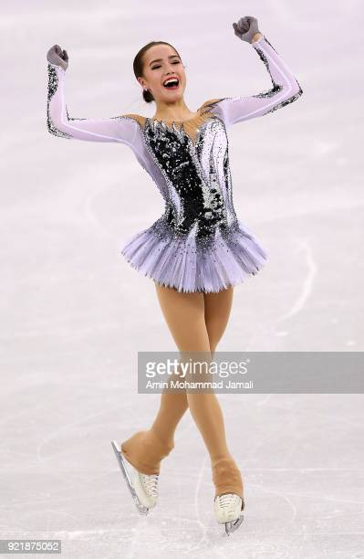 Alina Zagitova of Russia competes during the Ladies Single Skating Short Program on day twelve of the PyeongChang 2018 Winter Olympic Games at...