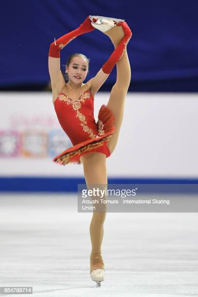 Alina Zagitova of Russia competes in the Junior Ladies Free Skating during the 4th day of the World Junior Figure Skating Championships at Taipei...