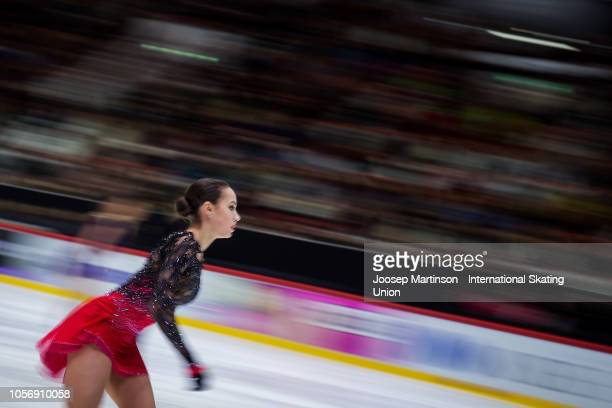 Alina Zagitova of Russia competes in the Ladies Free Skating during day two of the ISU Grand Prix of Figure Skating at the Helsinki Arena on November...