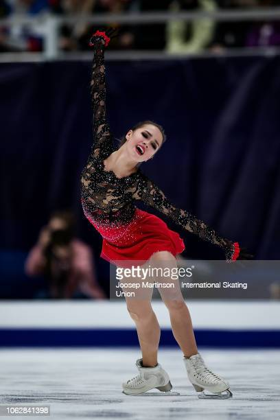 Alina Zagitova of Russia competes in the Ladies Free Skating during day 2 of the ISU Grand Prix of Figure Skating, Rostelecom Cup 2018 at Arena...