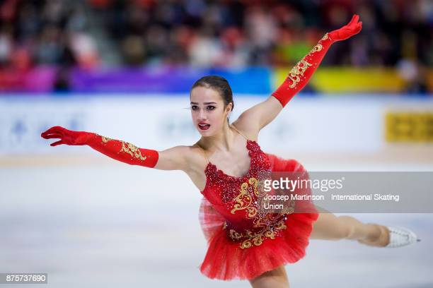 Alina Zagitova of Russia competes in the Ladies Free Skating during day two of the ISU Grand Prix of Figure Skating at Polesud Ice Skating Rink on...