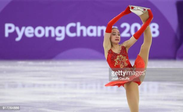 Alina Zagitova of Russia competes in the Ladies Free Skating during the Figure Skating Team Event on day three of the PyeongChang 2018 Winter Olympic...