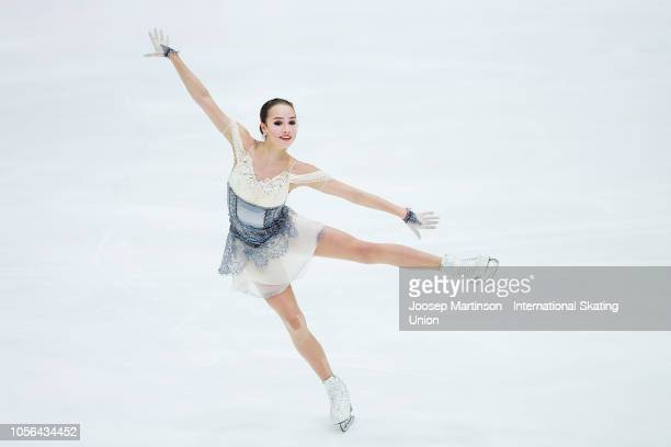 Alina Zagitova of Russia competes in the Ladies Short Program during day one of the ISU Grand Prix of Figure Skating at the Helsinki Arena on...