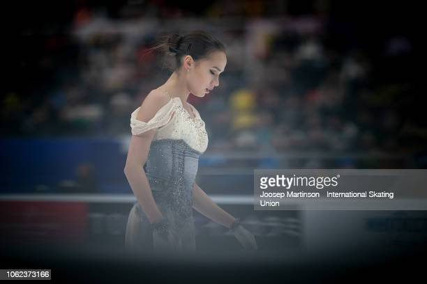 Alina Zagitova of Russia competes in the Ladies Short Program during day 1 of the ISU Grand Prix of Figure Skating Rostelecom Cup 2018 at Arena...