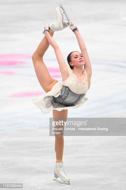 Alina Zagitova of Russia competes in the Ladies short program during day 1 of the ISU World Figure Skating Championships 2019 at Saitama Super Arena...