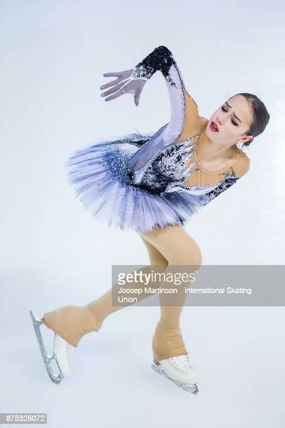 Alina Zagitova of Russia competes in the Ladies Short Program during day one of the ISU Grand Prix of Figure Skating at Polesud Ice Skating Rink on...