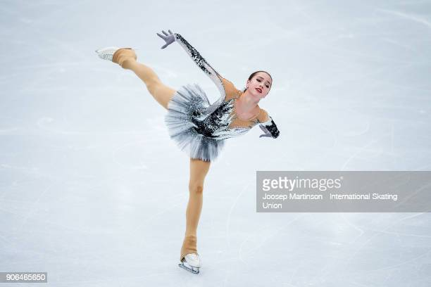 Alina Zagitova of Russia competes in the Ladies Short Program during day two of the European Figure Skating Championships at Megasport Arena on...
