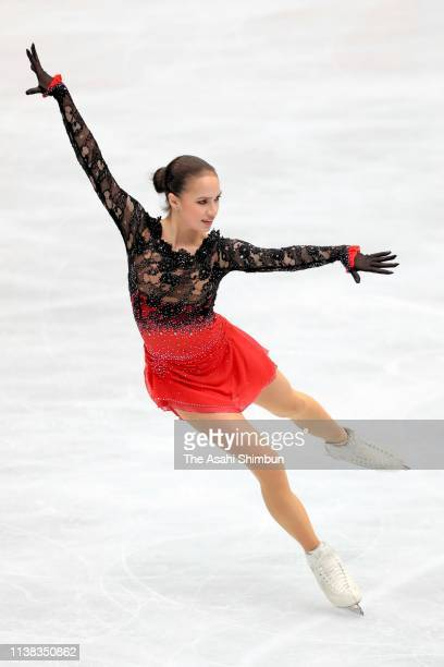 Alina Zagitova of Russia in action during a practice session ahead of the Ladies Free Skating on day three of the 2019 ISU World Figure Skating...