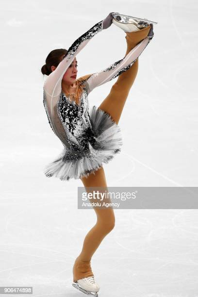 Alina Zagitova of Russia performs during Ladies Short Program of the ISU European Figure Skating Championships 2018 at the Megasport Arena in Moscow...