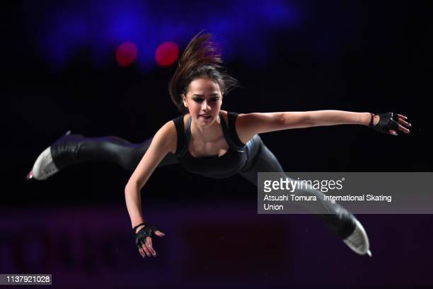 Alina Zagitova of Russia performs during the exhibition gala on day five of the 2019 ISU World Figure Skating Championships at Saitama Super Arena on...