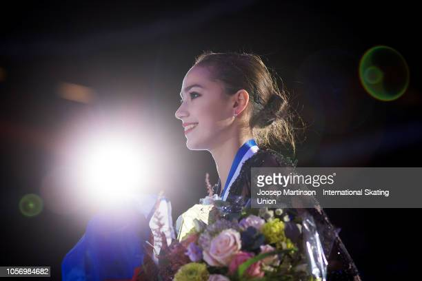 Alina Zagitova of Russia poses in the Ladies medal ceremony during day two of the ISU Grand Prix of Figure Skating at the Helsinki Arena on November...