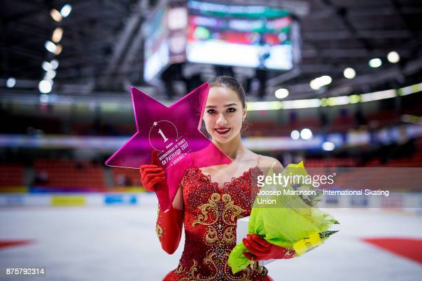 Alina Zagitova of Russia poses in the Ladies medal ceremony during day two of the ISU Grand Prix of Figure Skating at Polesud Ice Skating Rink on...