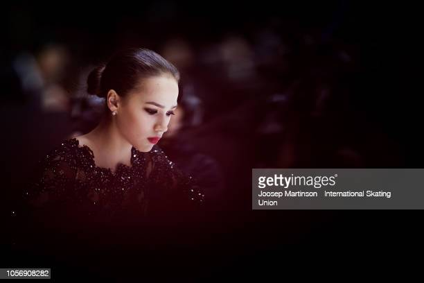 Alina Zagitova of Russia prepares in the Ladies Free Skating during day two of the ISU Grand Prix of Figure Skating at the Helsinki Arena on November...