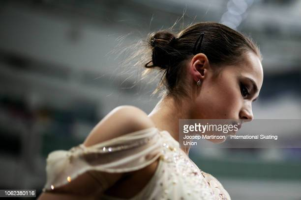 Alina Zagitova of Russia prepares in the Ladies Short Program during day 1 of the ISU Grand Prix of Figure Skating Rostelecom Cup 2018 at Arena...
