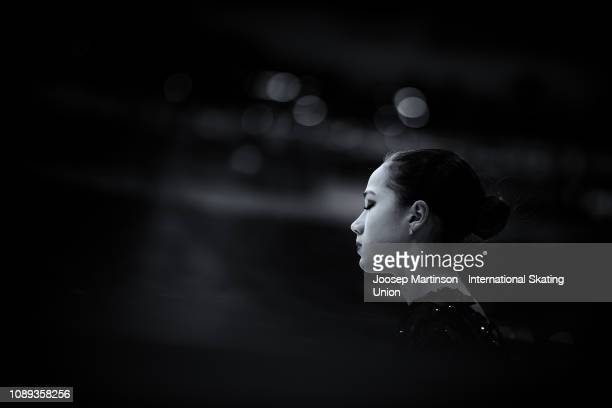 Alina Zagitova of Russia prepares prior to performing in the Ladies Free Skating during day three of the ISU European Figure Skating Championships at...