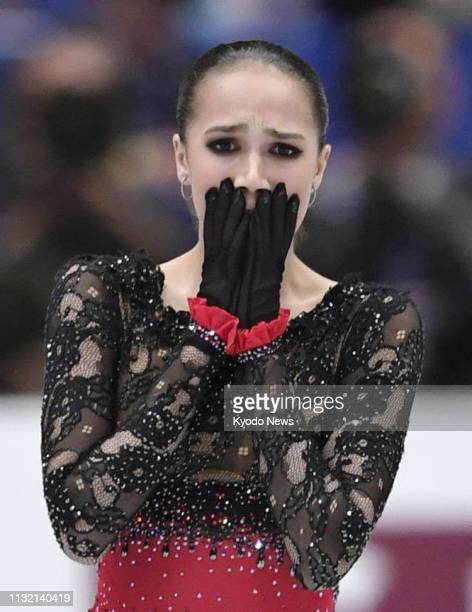 Alina Zagitova of Russia reacts after performing in the women's free program at the world figure skating championships at Saitama Super Arena near...