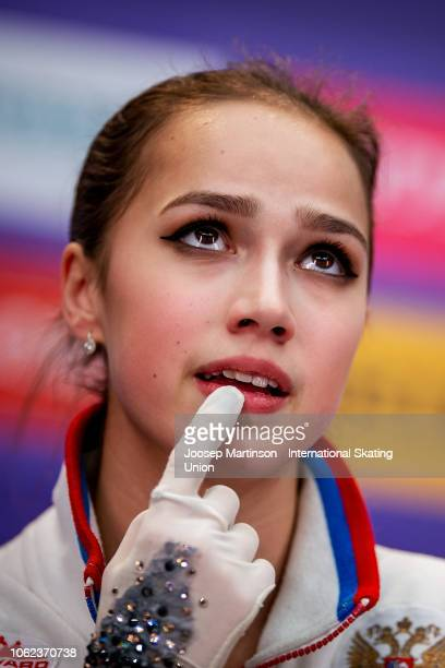 Alina Zagitova of Russia reacts at the kiss and cry in the Ladies Short Program during day 1 of the ISU Grand Prix of Figure Skating Rostelecom Cup...