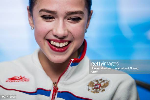 Alina Zagitova of Russia reacts at the kiss and cry in the Ladies Free Skating during day four of the European Figure Skating Championships at...
