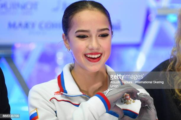 Alina Zagitova of Russia smiles at the kiss and cry after the mladies short program during the ISU Junior Senior Grand Prix of Figure Skating Final...