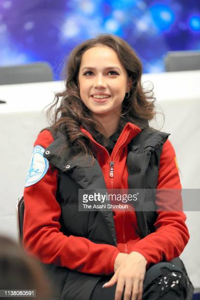 Alina Zagitova of Russia speaks during an interview on day four of the 2019 ISU World Figure Skating Championships at Saitama Super Arena on March 23...