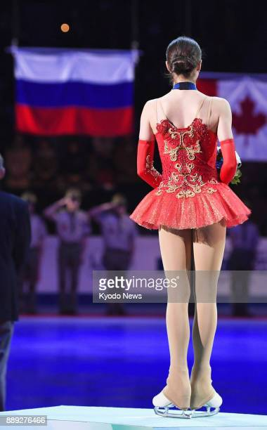 Alina Zagitova of Russia stands on the podium after winning the Grand Grand Prix Final figure skating competition in Nagoya on Dec 9 2017 ==Kyodo