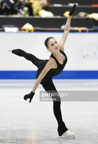 Alina Zagitova of Russia takes part in official training in Saitama near Tokyo on March 19 for the world figure skating championships starting the...
