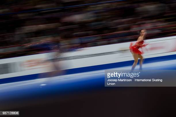 Alina Zagitova of Russia warms up in the Ladies Free Skating during day three of the World Figure Skating Championships at Mediolanum Forum on March...