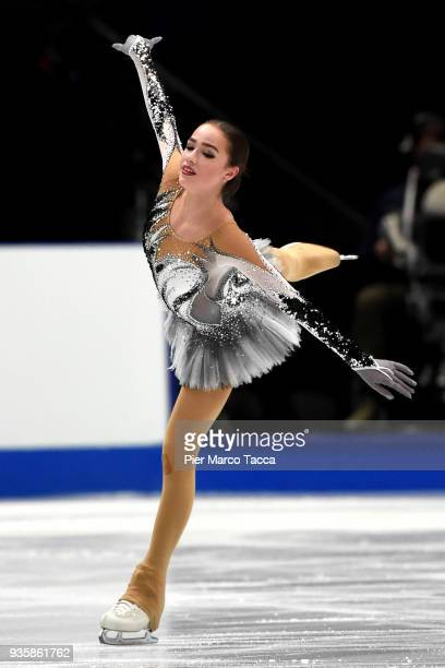 Alina Zagitova of Russian Federation competes in the Ladies Short Program on day one of the World Figure Skating Championships at the Mediolanum...