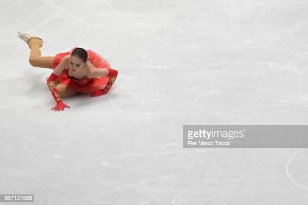 Alina Zagitova of Russian Federation falls down in women free skating during day three of the World Figure Skating Championships at Mediolanum Forum...