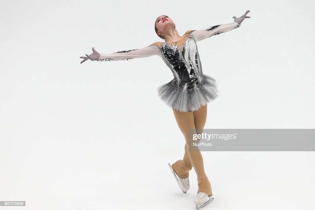 Alina Zagitova performs her short program at the Russian Figure Skating Championships in St. Petersburg, Russia, on 22 December 2017.